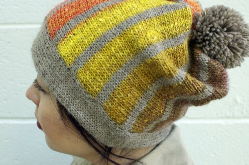 Sideways Striped Slouch Hat